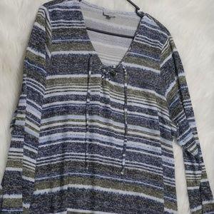 Avenue Pullover Asymmetric V-Neck Striped Sweater